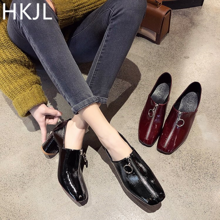 HKJL British vintage front zipper chunky pumps go well with the Korean 2019 autumn/winter patent leather A109