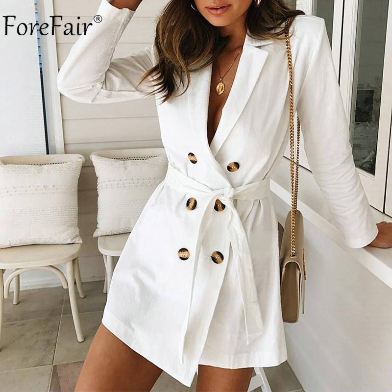 Forefair Casual White   Trench   Coat Women 2018 Autumn Winter with Sashes Double Breasted Slim Long Coats Ladies