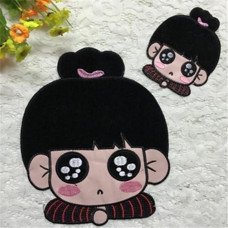 Hot sale embroidery pu 24cm bob girl iron on patch for clothes deal with it patches for clothing diy badge free shipping