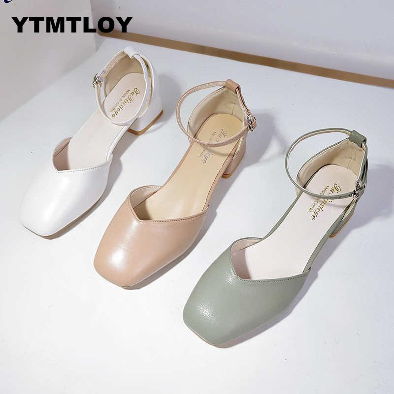 2019 Zapatos Mujer Women Pumps Ankle Strap Thick Hoof Heel Shoes Square Toe Mid Heels Dress Work Comfortable Ladies 5cm Green