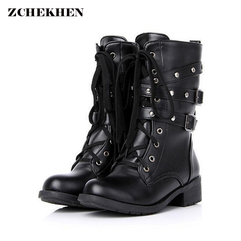 Plus Size 42 for Women Lace Up Martin Boots Round Toe PU Leather Boots Shoes Ladies Combat Military Ankle Motorcycle Boots taomengsi women s boots brown and brown plus velvet thickening martin boots front strap lace up round toe ladies boots