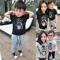 1 шт. новое семейство взгляд собака глава печатается футболки черный серый цвета лето семья одежда отец и мать и дочь и сын наряды