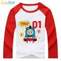Jiuhehall 2017 Novo Estilo de 2 a 6 anos de idade menino menina t camisas de algodão cheio roupa dos miúdos crianças manga longa camisetas DCM070