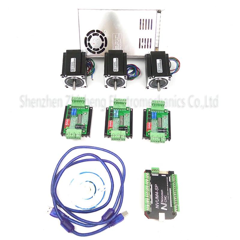все цены на top gradeCNC mach3 USB 4 Axis Kit, 3pcs TB660 0stepper driver+ mach3 USB stepper motor controller board3pcs nema17 motor powers онлайн