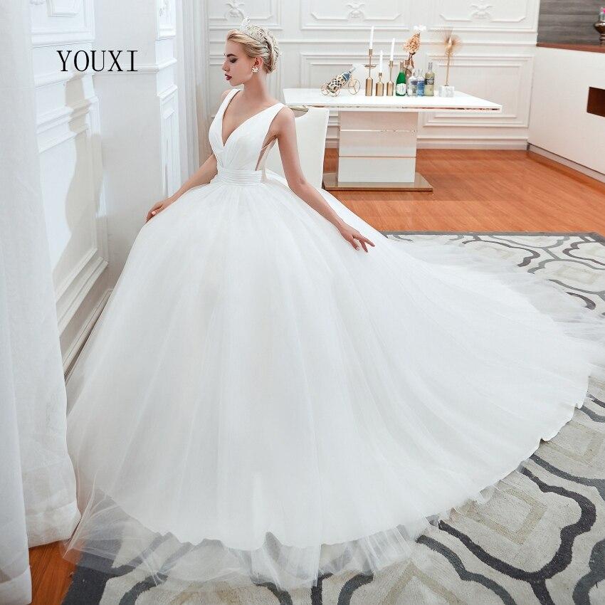 Robes de mariée Vintage 2019 Sexy col en v princesse robe de bal robe de mariée royale robe de mariée vestido de noiva
