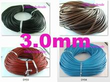 wholesale 3.0mm 5m Fashion Black red White blue coffee Real Leather Thread Cord For Necklace Bracelet without clasps Strands(China)