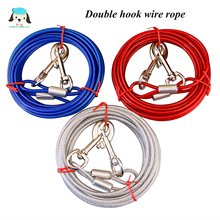 2019 New 3M 5M 10M Steel Wire Tow Rope Leash Cable With Dual Heads Metal Hooks Lead Strap For Small Large Pet Cat Dog