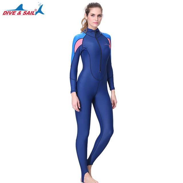 509a51bfe7 US $11.2 30% OFF|Aliexpress.com : Buy Women Full Body Stinger Swimsuit Dive  Skin Sun UV Protection Swimwear UPF50+ Blue Long Sleeve Rash Guards Lycra  ...