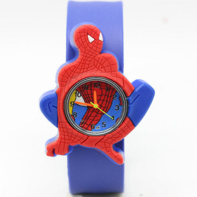 Free Shipping Cartoon spiderman slap watch Children Kids Girls Boys Students Qua