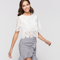 2018 женские новые футболка летние пикантные выдалбливают пять рукава ресницы кружева Тонкий рубашки Club Вечерние 8980