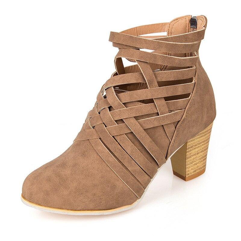 Bottes Daim Couleur Nu 2018 Croix De Brwon Chaussures Glissière Tête Ronde Solide Sauvage Femmes Automne Épais Dos 1022 Et Au Avec Z0EwC8Epq