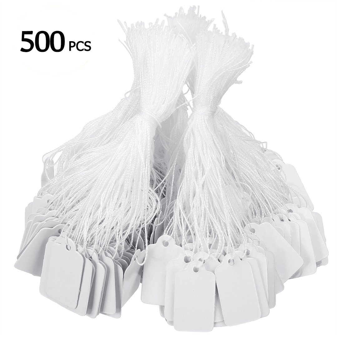 26 x 14mm 500Pcs White Marking Tags Price Tags Price Labels Display Tags with Hanging String