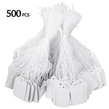 Etiquetas de preço, etiquetas de preço, corda, relógio de gravata, joia, display de mercadoria, cartões de papel, etiqueta em branco retangular, 500 peças