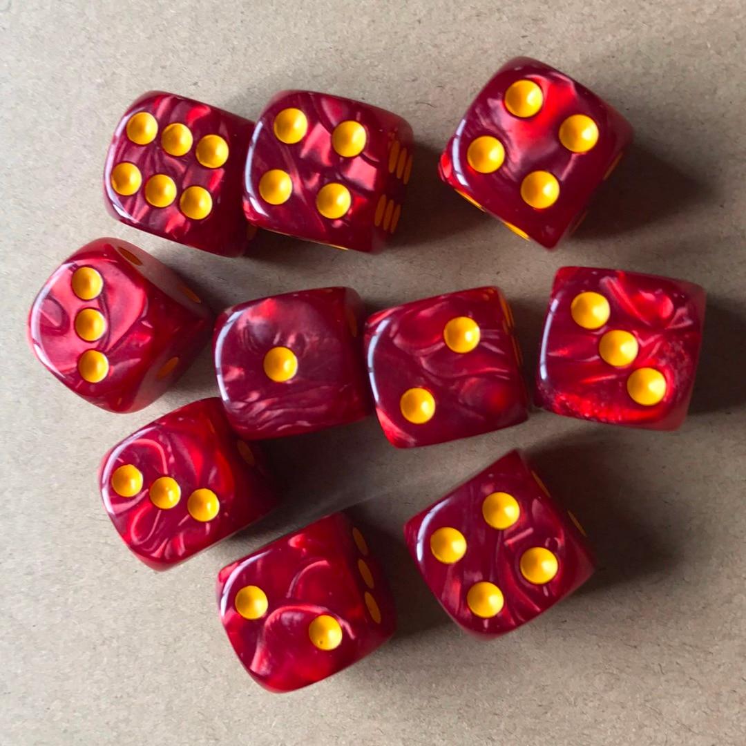 Dados redondos de 6 lados, dados coloridos com pedra redonda de pérola, 16mm para jogos de mesa e entretenimento, 10, novo, pçs/set