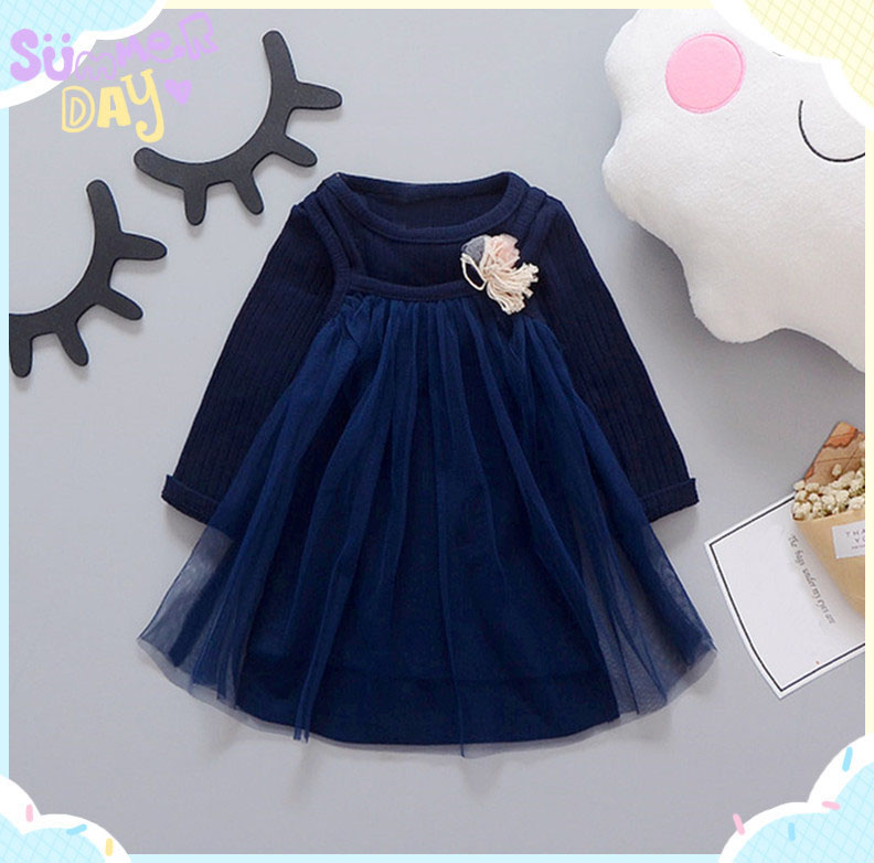 Spring Long Sleeved Infant Kids Baby Sling mesh Tops knit Dresses Two Pieces Princess Tutu Birthday