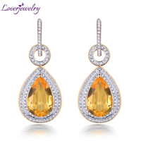 Citrine Earrings For Women 14Kt Yellow Gold Natural 10x14mm Pear Yellow Citrine Diamonds Drop Earrings Fine Jewelry OL Style