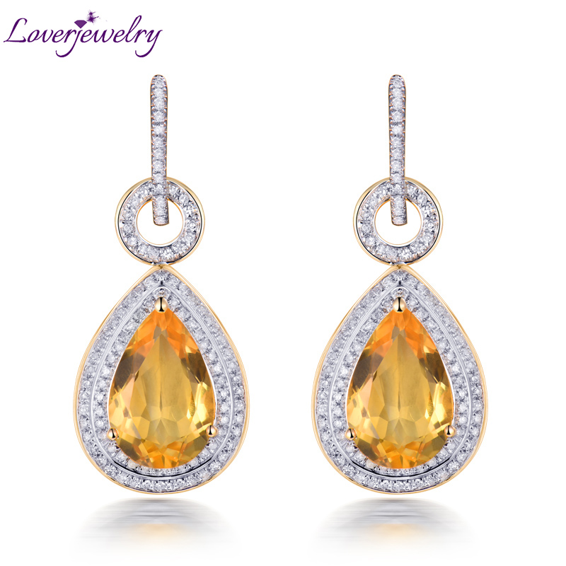 все цены на New Solid 585 Gold Citrine Earrings,Pear Citrine Drop Earrings 14Kt Yellow Gold For Sale E002 онлайн