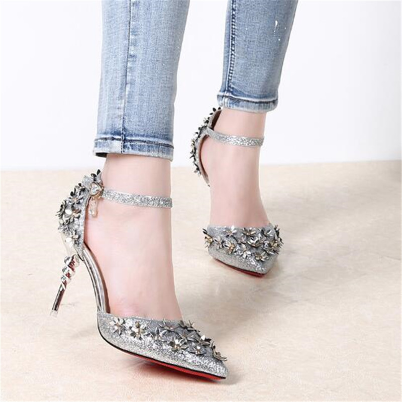 2019 New Women's Summer Sandals Ankle Strap High Heels Platform Crystal Design Sexy Party Shoes For Women Size 35-40