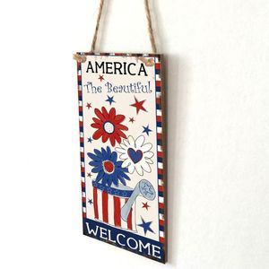 Image 3 - Vintage Wooden Hanging Plaque America The Beautiful Sign Board Wall Door Home Decoration Independence Day Party Gift