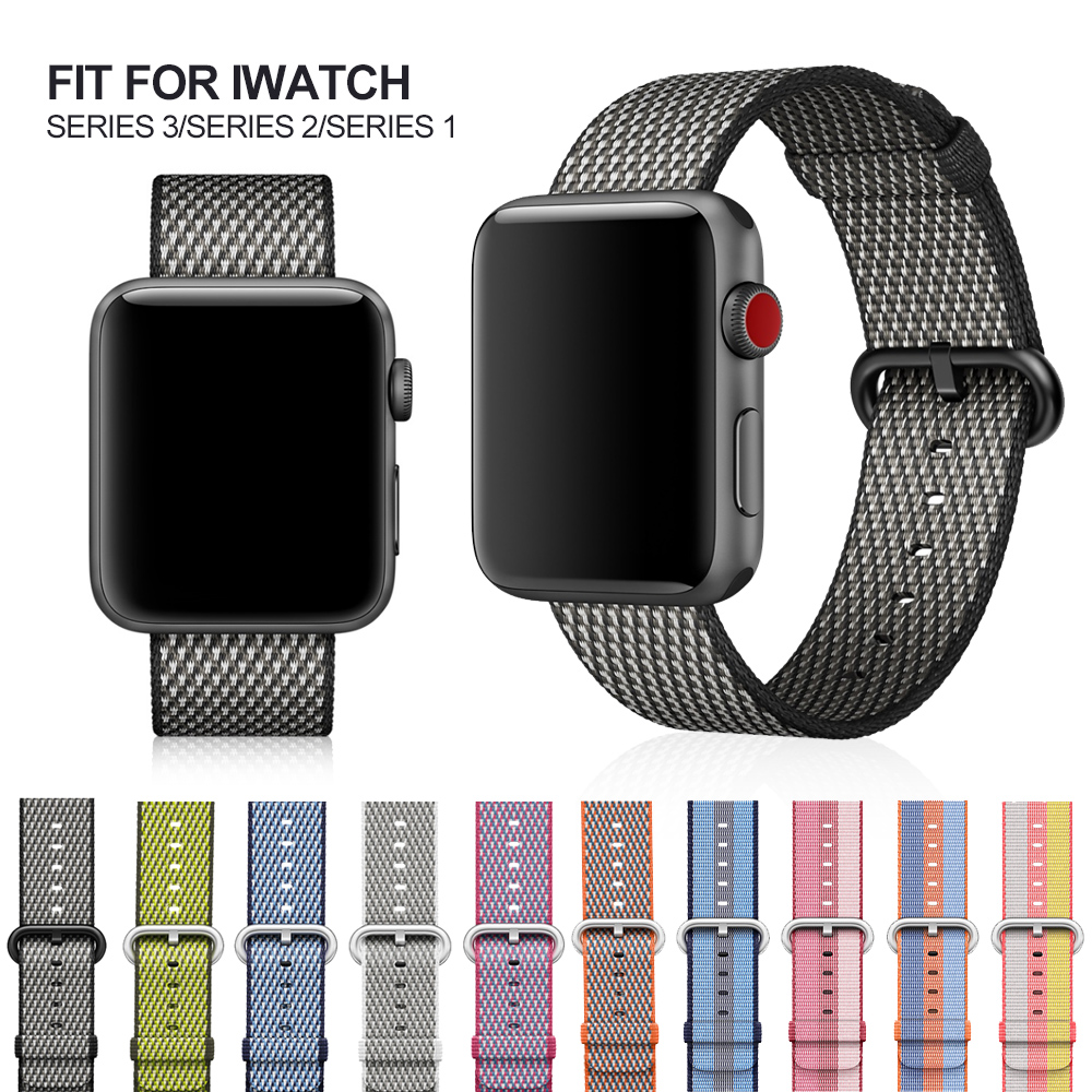 Sport woven nylon strap band for apple watch 3 42mm 38mm wrist bracelet belt fabric-like nylon band for iwatch 3/2/1 MU SEN