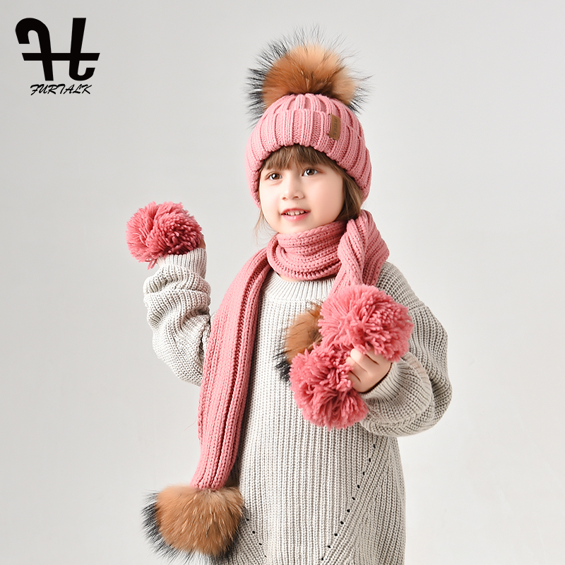 42da13fea1ace FURTALK Kids Ages 2 10 Winter Warm Chunky Thick Knit Beanie Hats and Scarves  Real Fur Pom Pom Hat Scarf Set for Child-in Skullies   Beanies from Apparel  ...