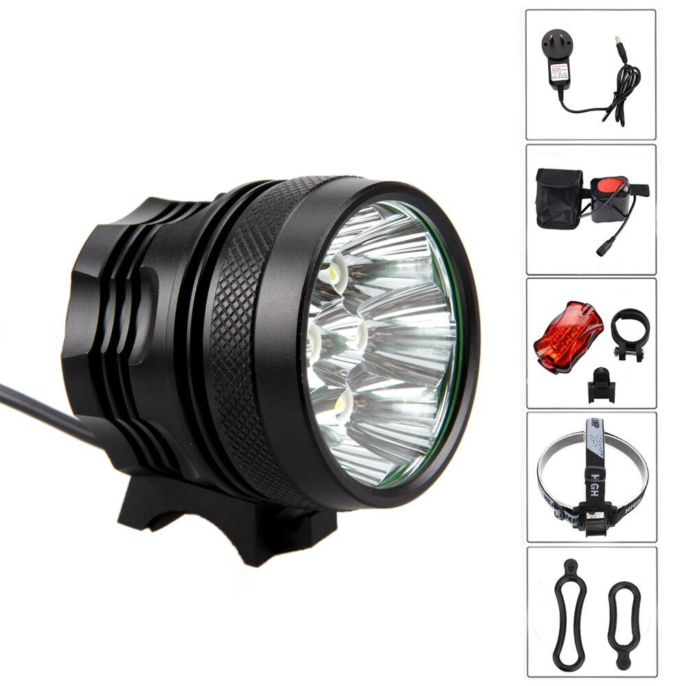 Front Bike Light 10000 Lumen 8x XM-L T6 LED Bicycle Light 5 Modes Headlamp Cycling Lamp+6400 MAh Battery Pack+Taillight+Headband