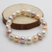 Freshwater Cultured Pearl Bracelet Fashion Simple Elastic Bracelet free shipping Real Pearl Baroque Pink White Purple 7.5INCH