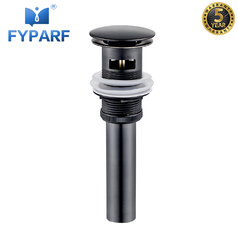 FYPARF Bathroom Lavatory Black Sink Pop Up Drain With/Without Overflow Bathroom Parts Faucet Accessories Drainer Round Style