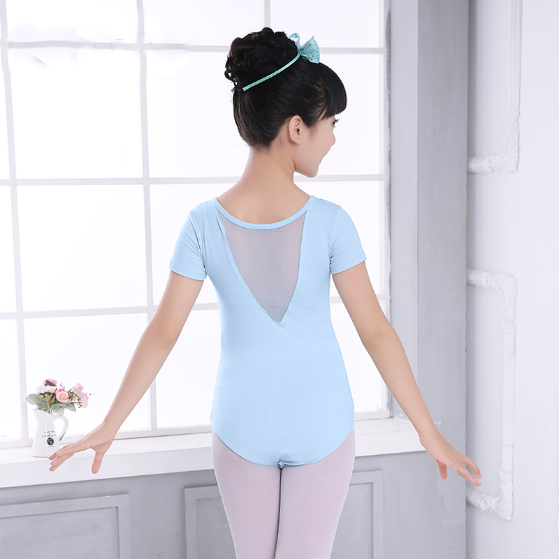 Girls Gymnastics Leotard Dance Wear Child Ballet Skate Costume V Collar Top