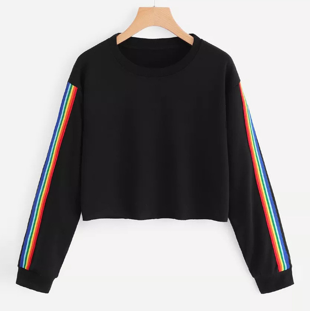 Sweatshirts Women Fashion Rainbow Patchwork Long Sleeve Hoodie homens Sweatshirt Pullover Tops Crop Blouse
