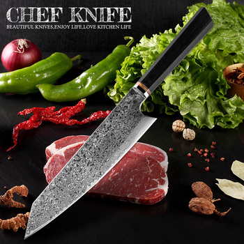 xituo 2018 new damascus knife 8 inch professional chef knife 67 layer japanese damascus steel vg 10 blade kitchen knives forging XITUO Handmade Knife 67-layers Japanese Damascus Stainless Steel Chef Knife Kiritsuke T Head Kitchen Utility Knives Wood Handle