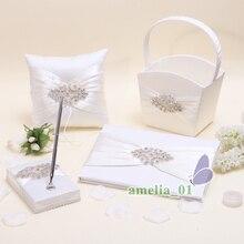 5Pcs/Set Ivory Satin Crystal Wedding Guest Book +Pen Set Ring Pillow Flower Girls Basket