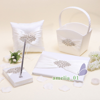 4Pcs/Set Ivory Satin Crystal Wedding Guest Book +Pen Set Ring Pillow Flower Girls Basket