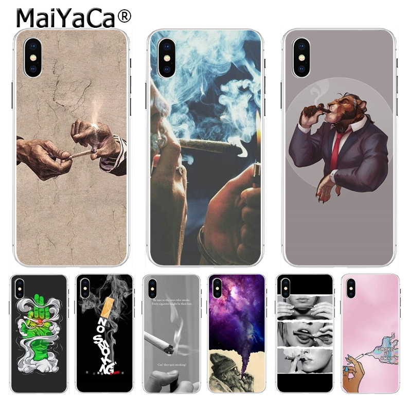 MaiYaCa Weed Cigarette Smoking Dominant Diy phone cover for Apple iPhone 8 7 6 6S Plus X XS max 5 5S SE XR Mobile Cover