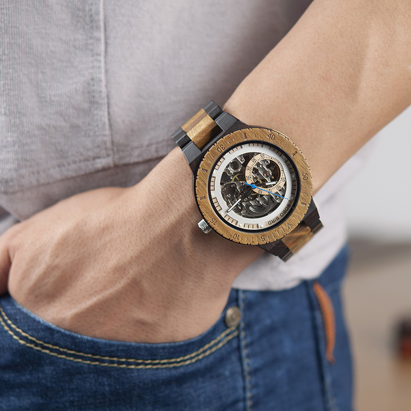 BOBO BIRD Wooden Mechanical Watch Men Relogio Masculino Big Mens Watches Top Brand Luxury Timepieces erkek BOBO BIRD Wooden Mechanical Watch Men Relogio Masculino Big Mens Watches Top Brand Luxury Timepieces erkek kol saati W-R05