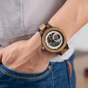 Image 3 - בובו ציפור עץ מכאני שעון גברים Relogio Masculino גדול Mens שעונים למעלה מותג יוקרה שעונים erkek kol saati W R05