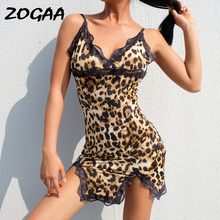 ZOGAA Women V Neck Lace Split Nightgowns Dress Sexy Summer Sleepwear Spaghetti Strap Leopard Print Bodycon Nighty Sleep Wear