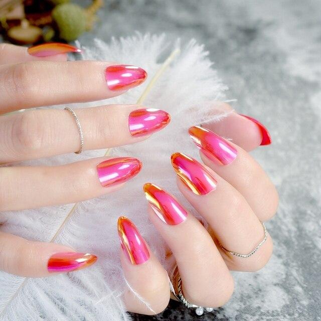 Chameleon Mirror Acrylic Nail Red False Nails Short Stiletto Full Wrap Tips Salon Manicure