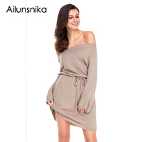 Ailunsnika New Winter Khaki Black Long Sleeve Off The Shoulder Knit Dress Two Ways Wear Sexy