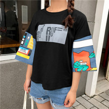 NiceMix Korean Ulzzang Harajuku Half Sleeve T-shirts Women Casual Top Shirts Vintage O-Neck Regular Tee Shirt