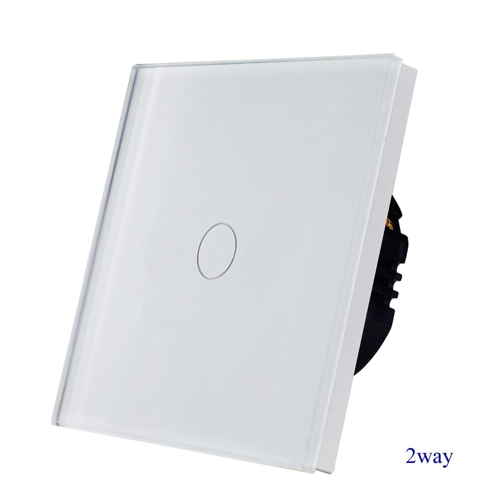 1 gang 2way interruptor de parede da escada, branco de cristal de vidro temperado touch 2way interruptor de luz EU/UK padrão AC110-250V Venda Quente