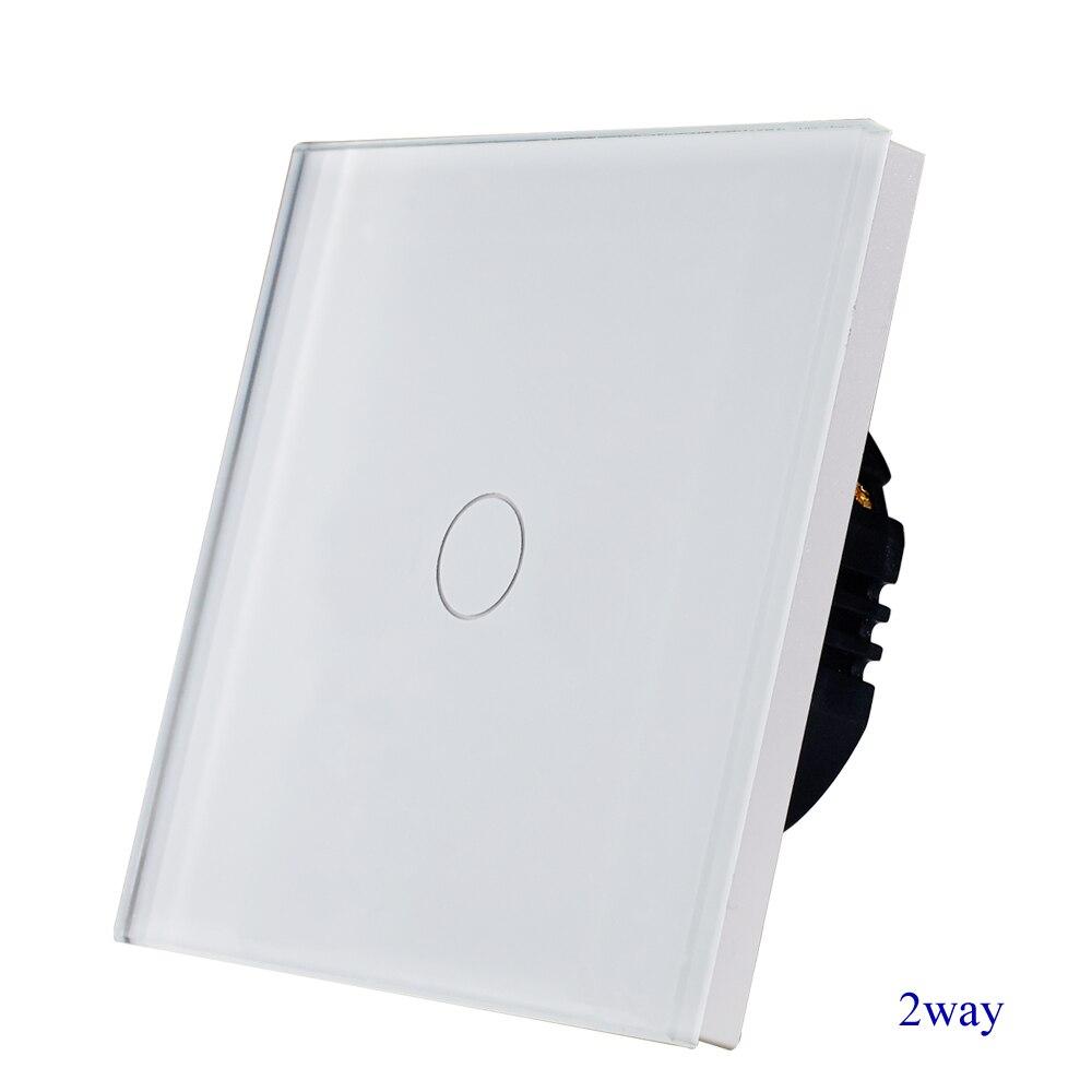1 gang 2way treppen wand schalter, weiß kristall gehärtetem glas touch 2way licht schalter EU/UK standard AC110-250V Heißer Verkauf
