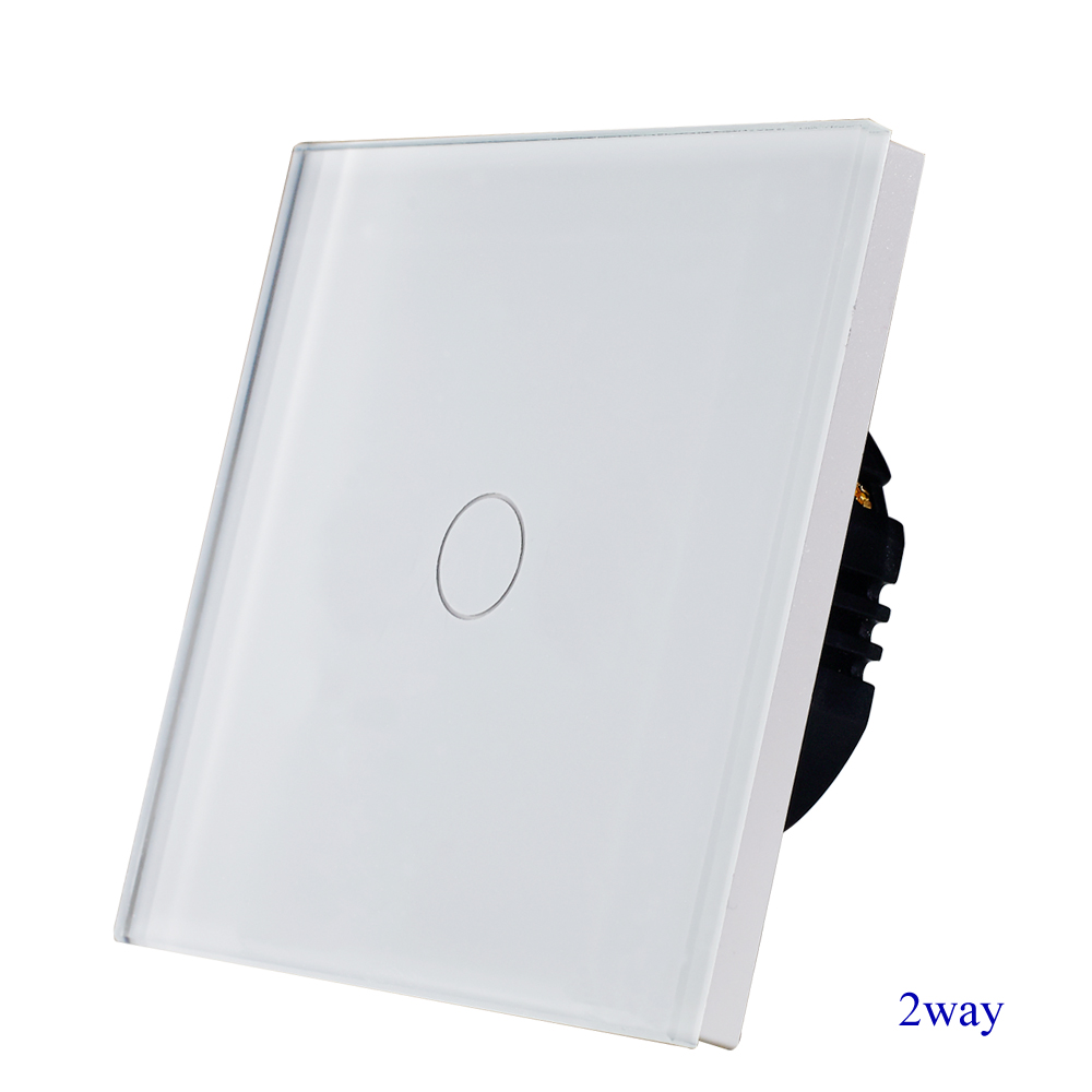 1gang 2way stair wall switch,white crystal toughened glass touch 2way light switch EU/UK standard AC110-250V Hot Sale