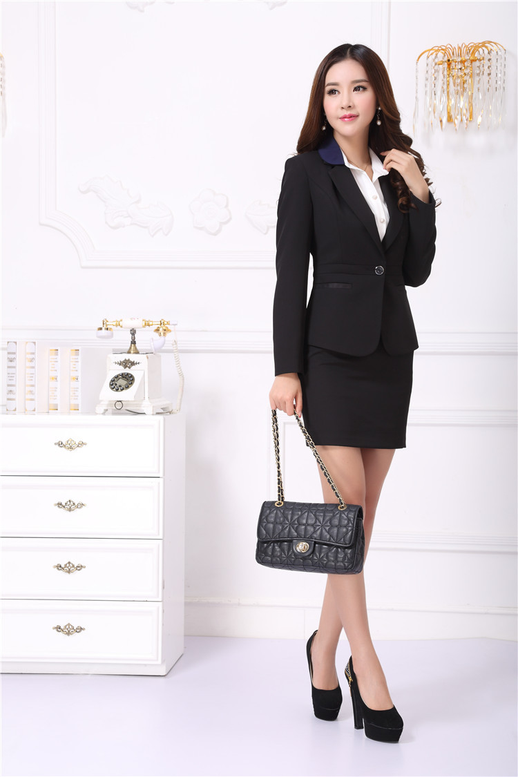 6b4e6080cc New Elegant Black Professional Fall Winter Business Women Work Wear Suits  With Mini Skirt For Office Ladies Uniforms Design-in Skirt Suits from  Women's ...