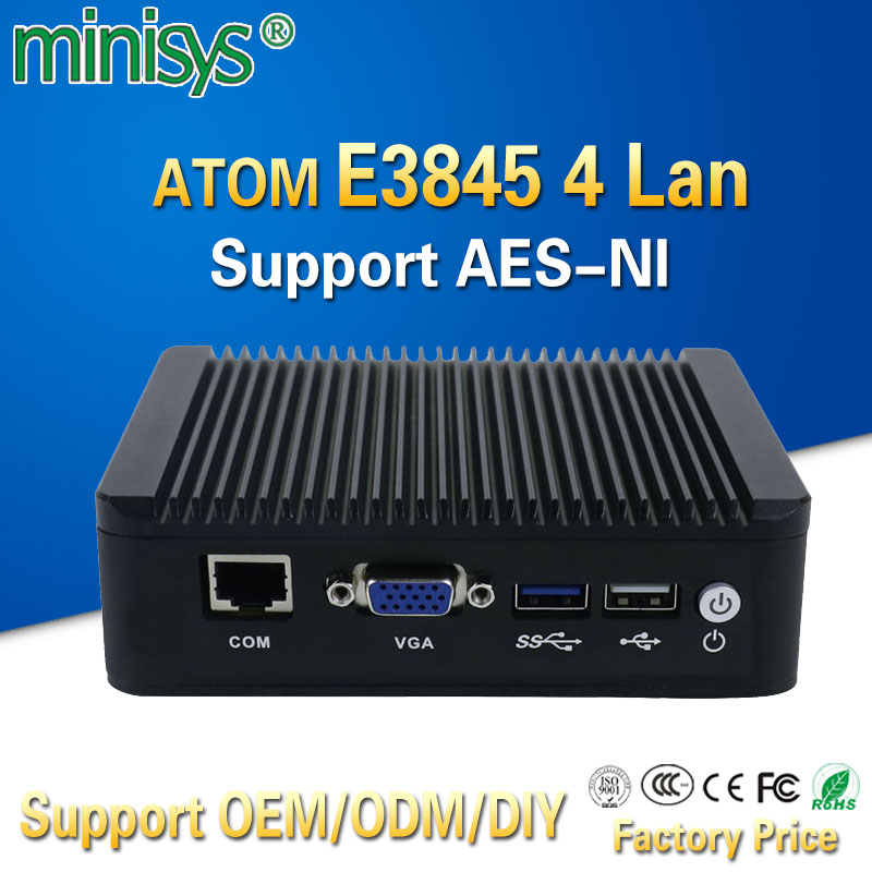Pfsense fanless X86 mini pc VGA with ATOM E3845 CPU 4 Lan router barebone nano itx desktop computer for windows 7 4gb ram AES-NI thunderspeed barebone mini pc j1900 quad core nuc 4 lan firewall router fanless nano itx computer windows linux pfsense os