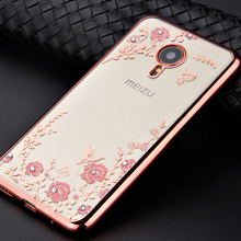 Segredo Metal segredo caso flor para Meizu nota 3 MX5 MX5 pro MX6 chapeamento quadro macio TPU diamante tampa traseira