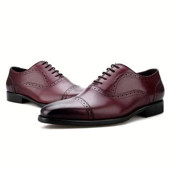 Fashion Black / Brown / Blue / Tan Oxfords Mens Wedding Dress Shoes Genuine Leather Business Shoes Male Social Shoes