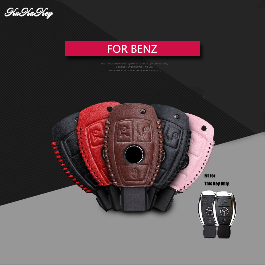 For Benz Genuine Leather 2&3 Button Smart Car Key Case Cover For Mercedes Benz Accessories W203 W210 W211 W124 Keyrings Keychain nulla genuine carbon fiber car auto remote key shell fob holder case cover for mercedes benz w203 w211 car styling car sticker