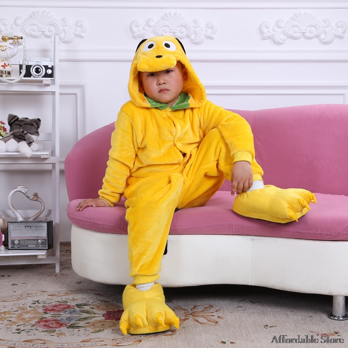 Flannel fall and winter children's clothing for boys and girls small yellow cartoon Siamese pajamas toilet home service