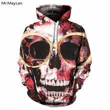 Fashion 3D Hoodies Men Sunglass Rose Skull 3D